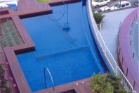 A swimming pool on a terrace